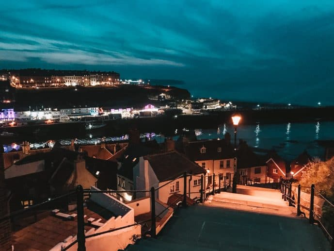 199 steps whitby at night