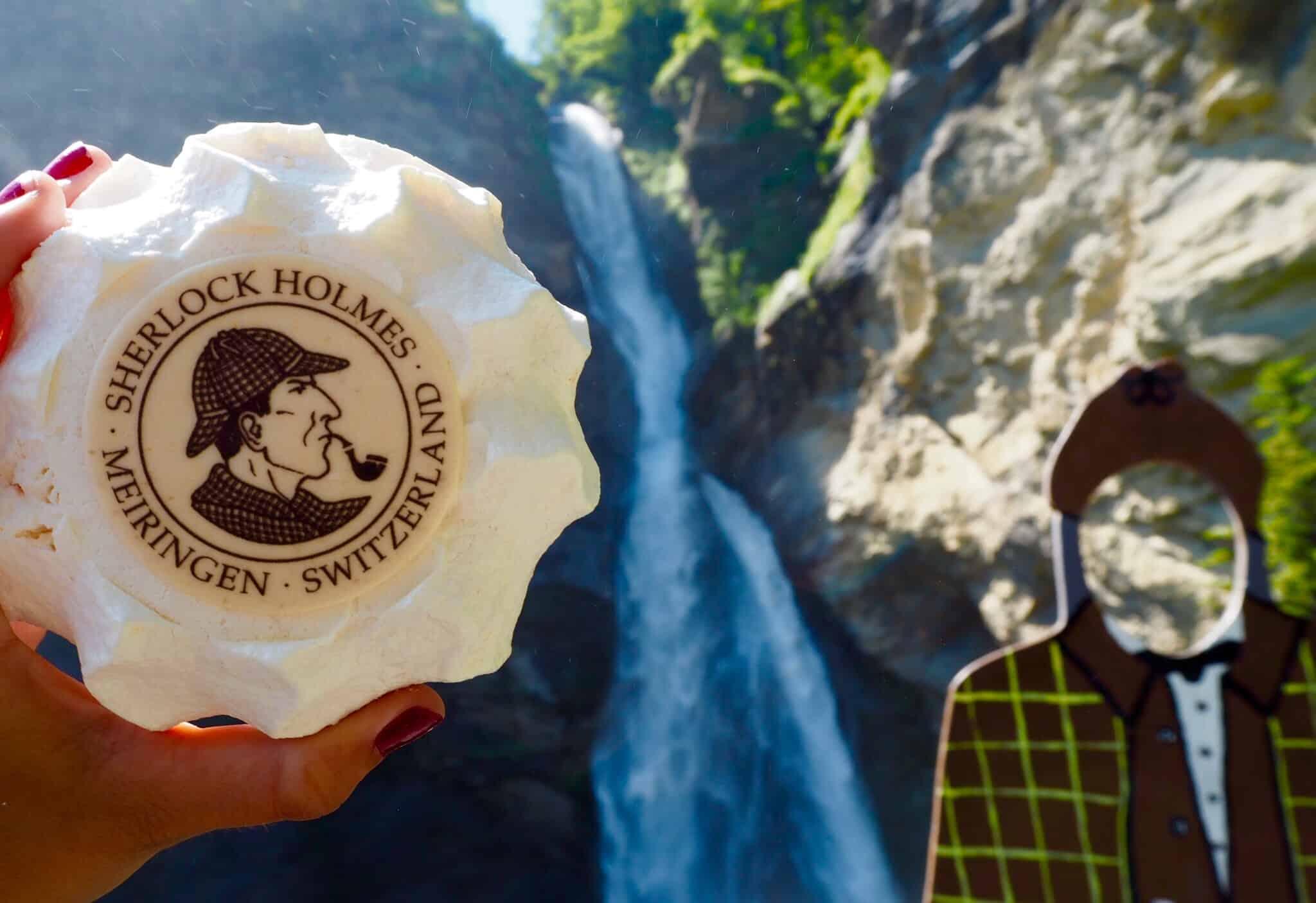 Sherlock Holmes Meringue in Meiringen at the Reichenbach Falls Switzerland