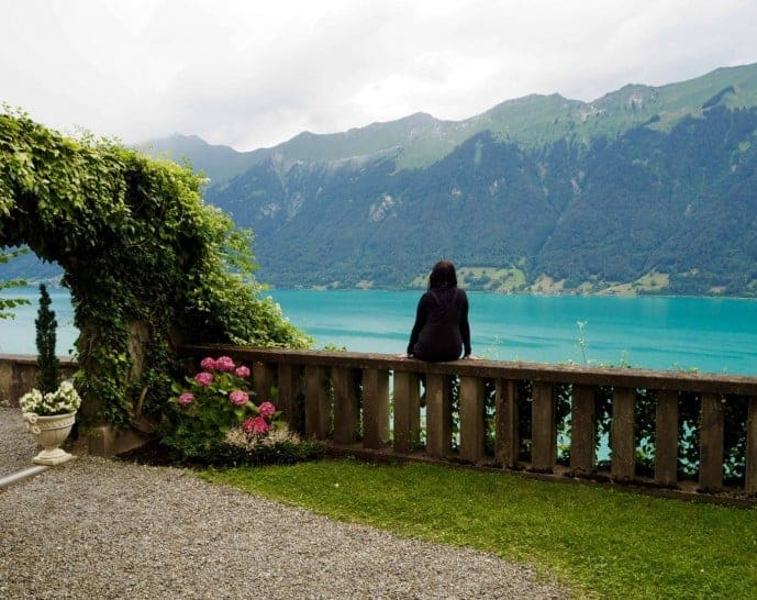 the gardens at the grand hotel giessbach view of lake brienz