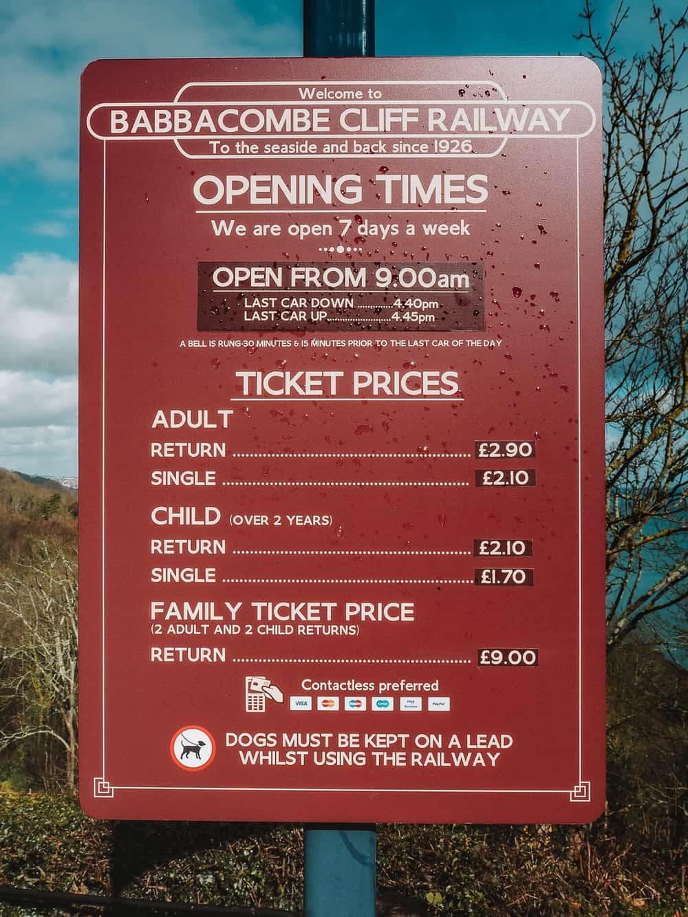 Babbacombe Cliff Railway ticket prices