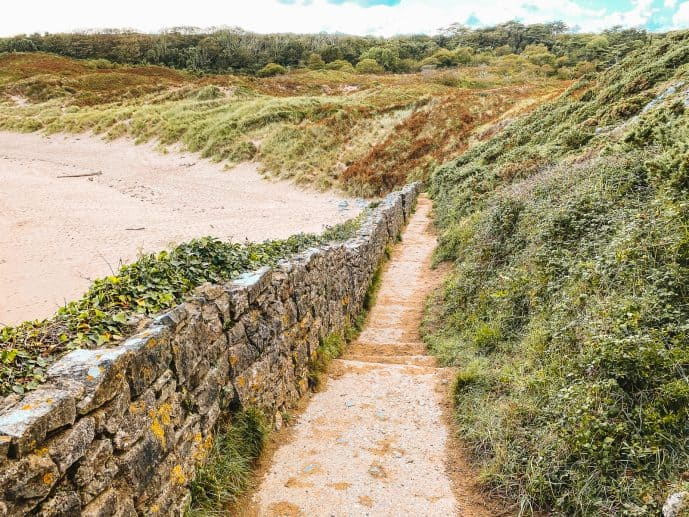 The walk down to Barafundle Bay