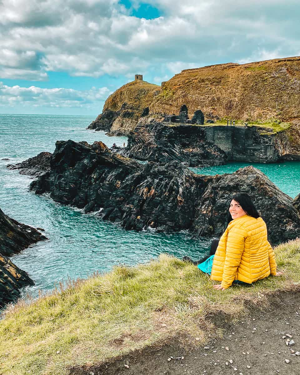 Girl looking out at the Blue Lagoon in Pembrokeshire