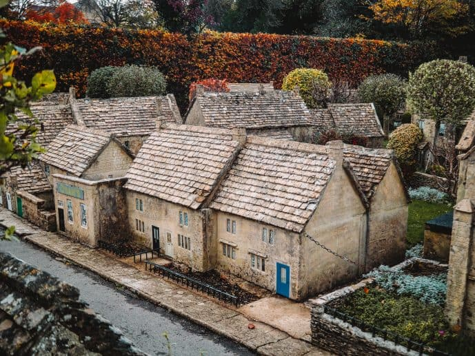 Bourton Model Village houses limestone and Cotswolds slate rooftops