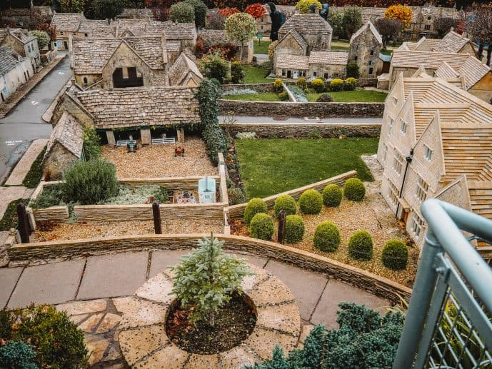 A birds eye view from the bourton model village viewing platform