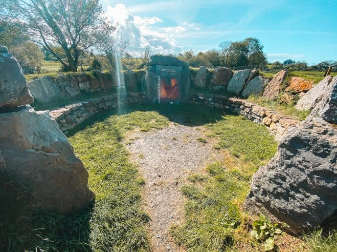 The seating are at Bryn Celli dDu car park