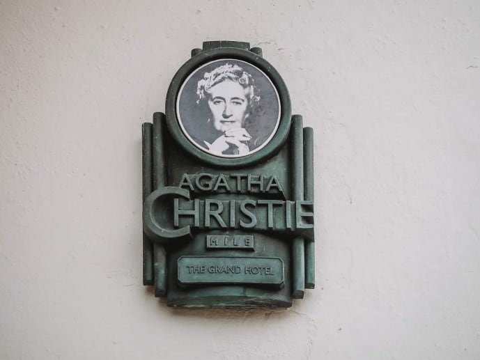 Agatha Christie Mile plaque at the Grand Hotel Torquay