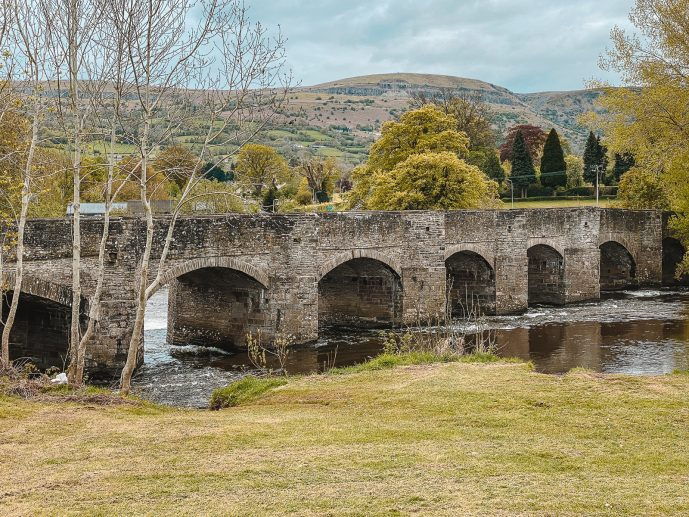 The view of Crickhowell Bridge from Bullpit meadow