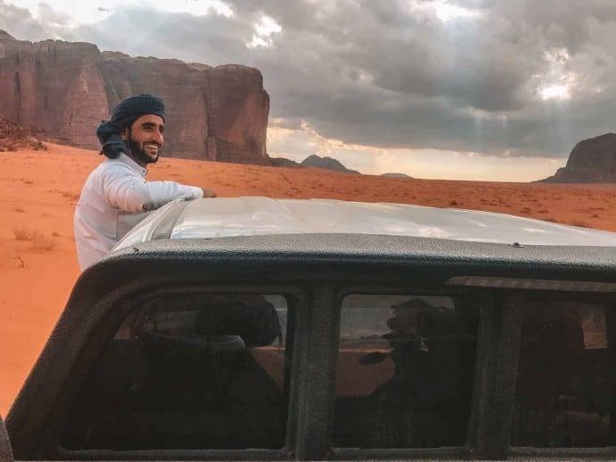 Driver in Wadi Rum