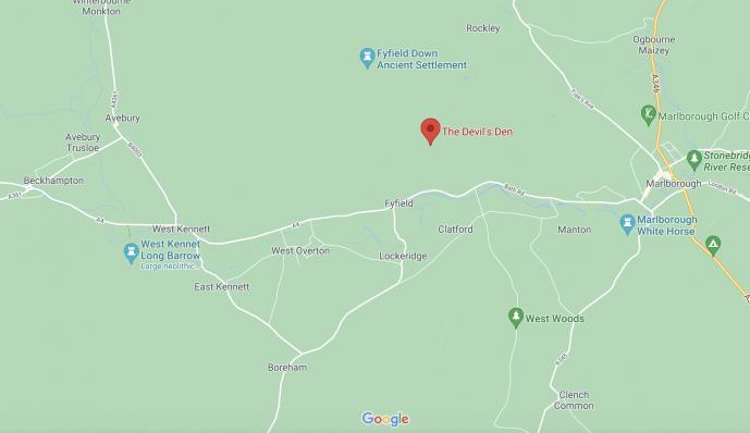 Devil's Den map location Avebury