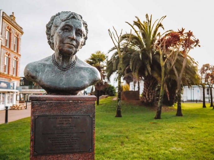 Agatha Christie bust in Torquay