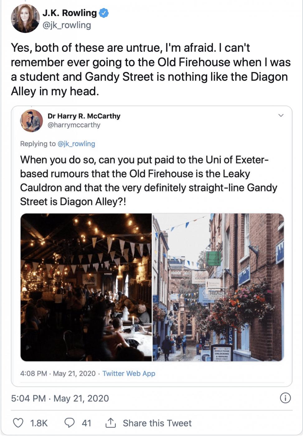 J K Rowling Gandy Street Diagon Alley Tweet