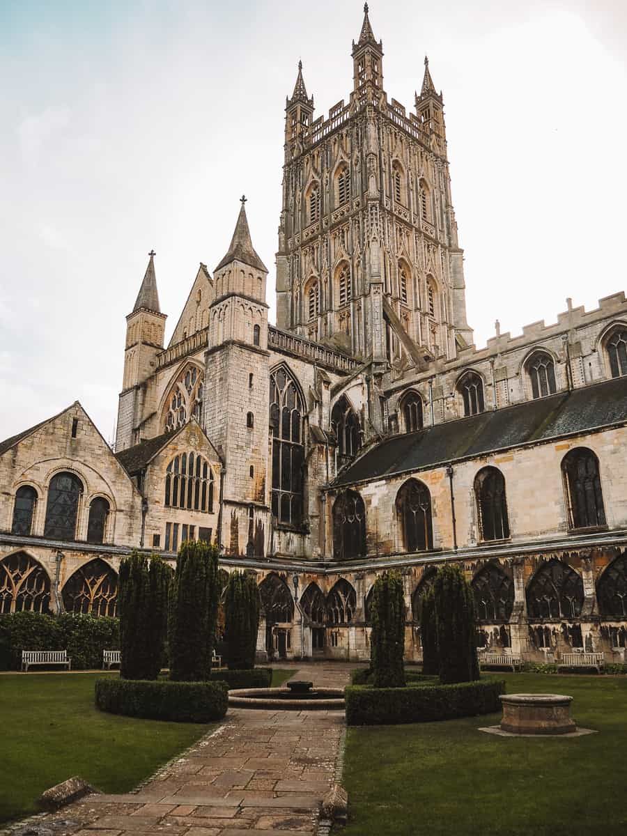 Gloucester Cathedral courtyard outside