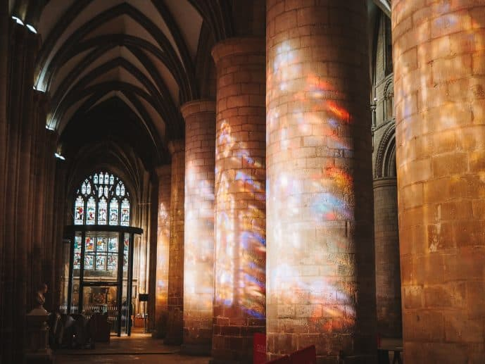 Stained Glass window reflection at Gloucester Cathedral