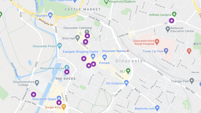 Gloucester Photography locations map