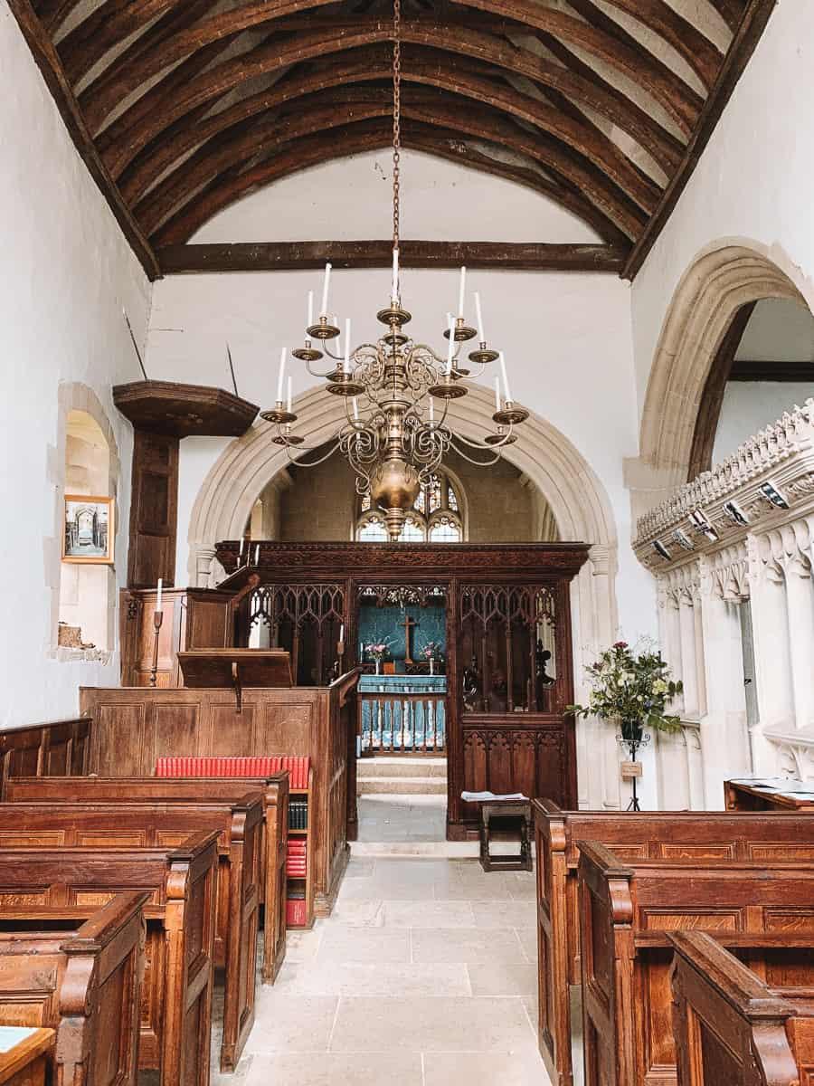 The inside of the All Saints Parish Church Great coalfield Manor