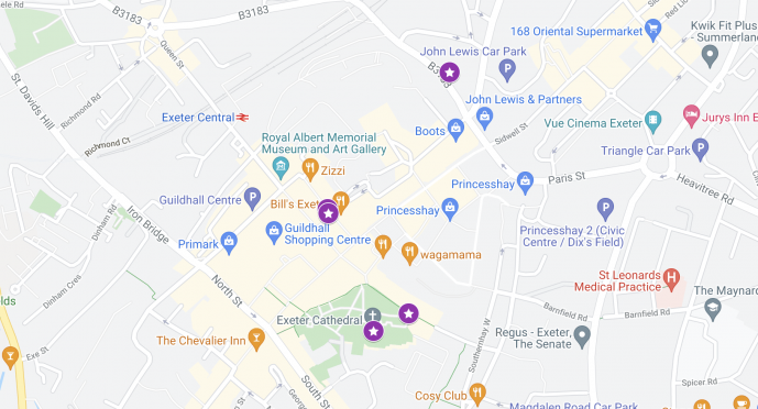 Harry Potter Exeter Map