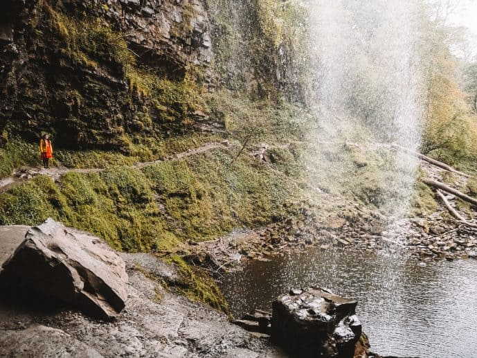 the path behind the waterfall at Henrhyd Falls