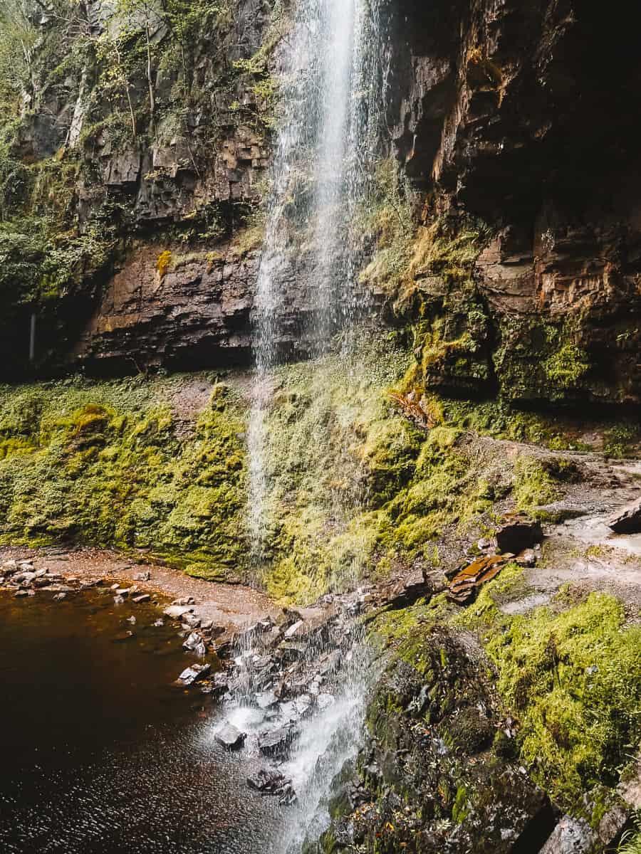 Walking Behind Henrhyd Falls