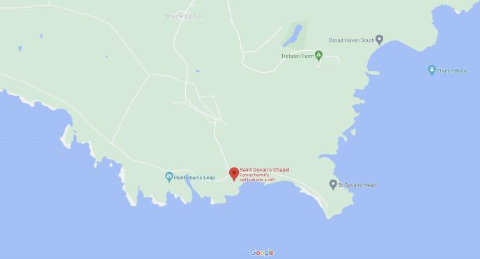 St Govan's Chapel Map location