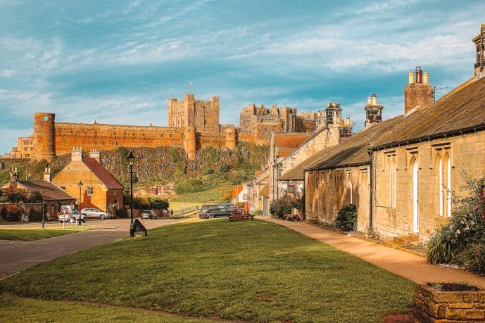 Bamburgh Village Northumberland street with a view of Bamburgh castle