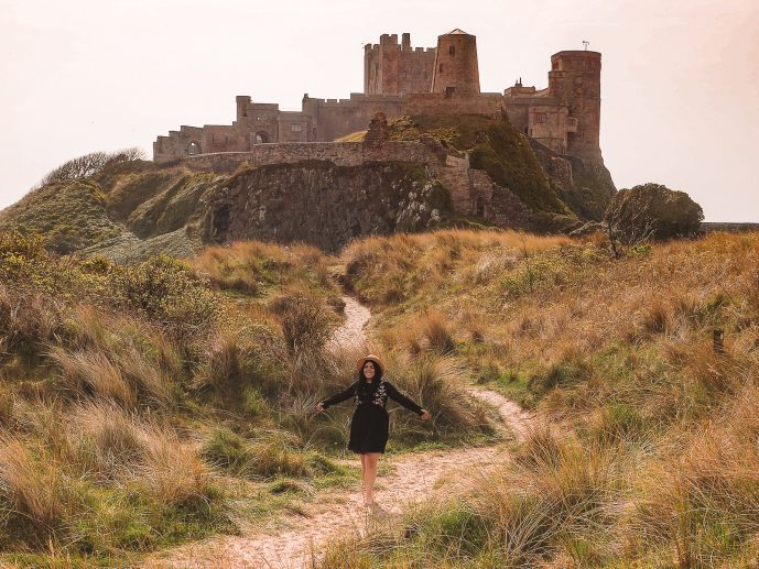 Bamburgh Dunes Castle northumberland UK