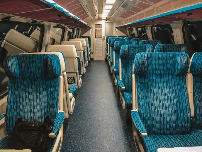 First class train carriage in Lithuania Vilnius to Kaunas