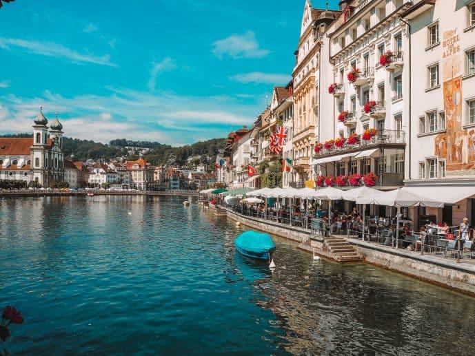 River Reuss Riverside Restaurants in Lucerne