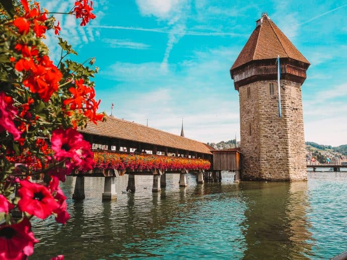 Chapel Bridge and Water Tower in Lucerne Switzerland