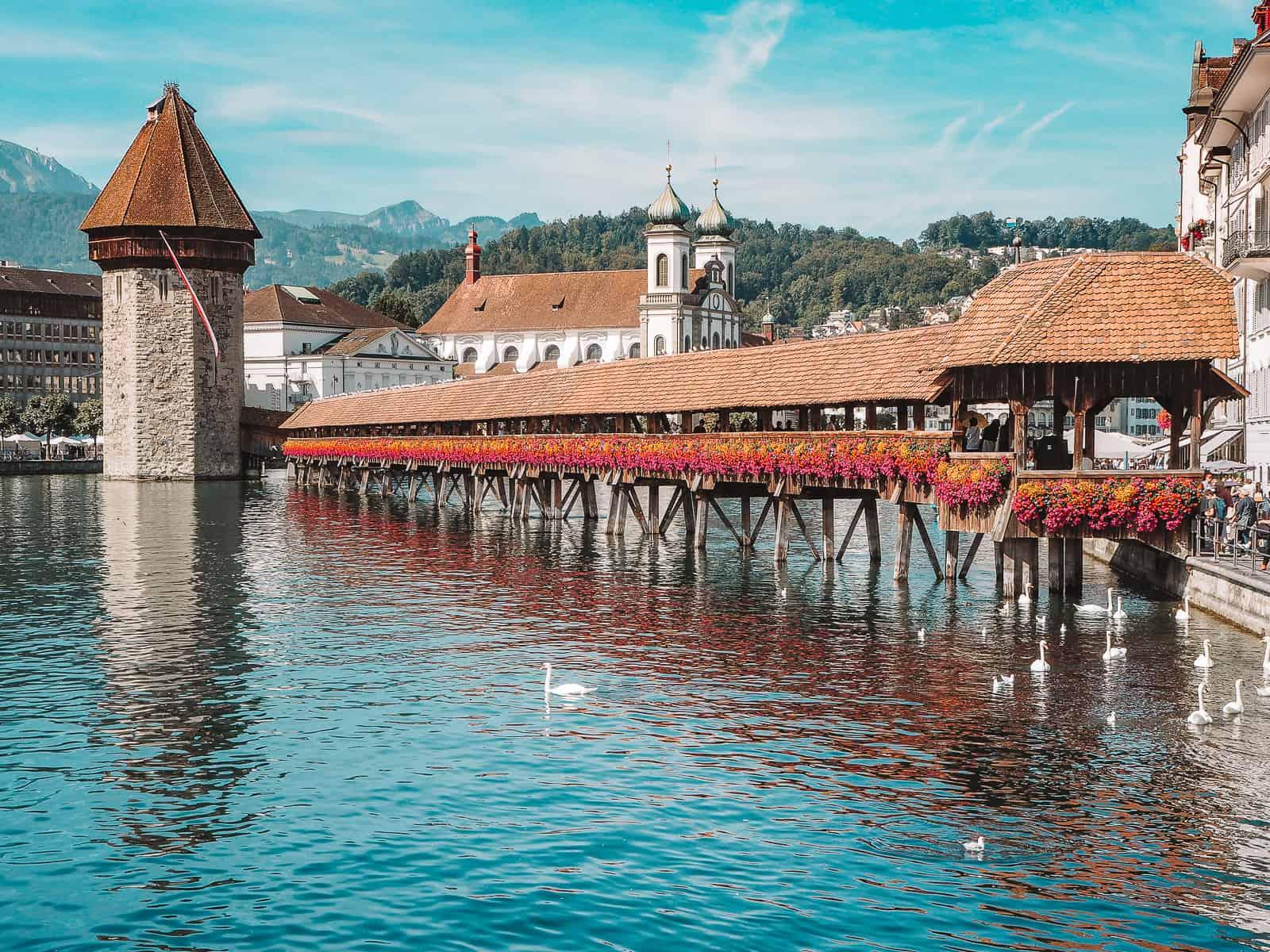 Chapel Bridge and Water Tower in Lucerne Kapellbruke
