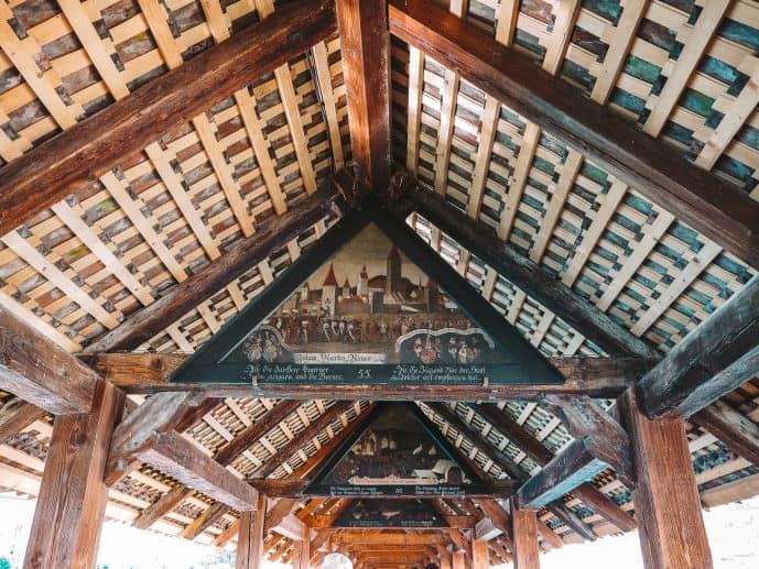 Triangular Historic Chapel Bridge Paintings in Lucerne