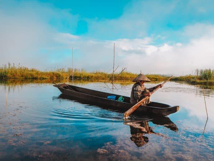 Fisherman on Loktak Lake