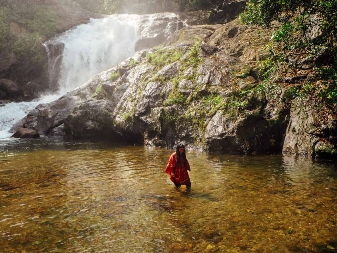 Swimming in Lakkam Waterfalls