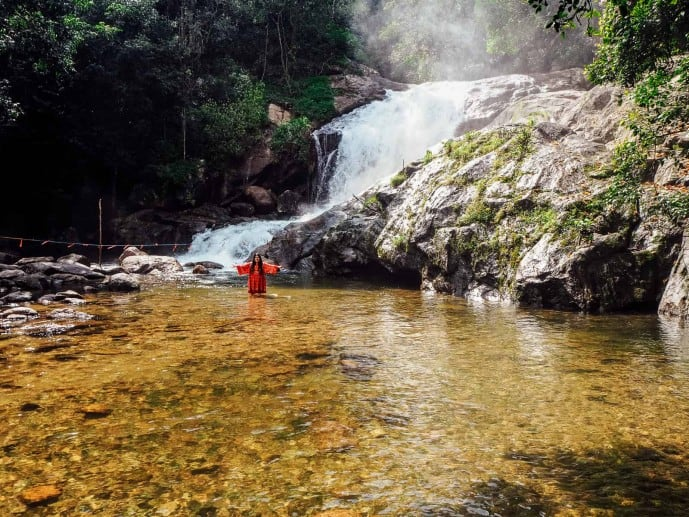 Swimming in Lakkam Waterfalls