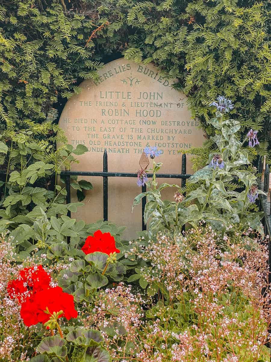 Little John's Grave tombstone Hathersage