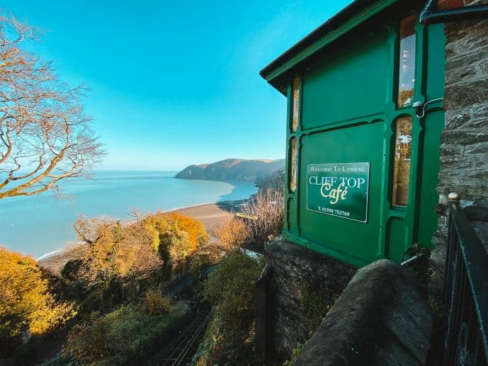 A view from the Cliff Top Cafe in Lynton over Exmoor and Lynmouth Bay
