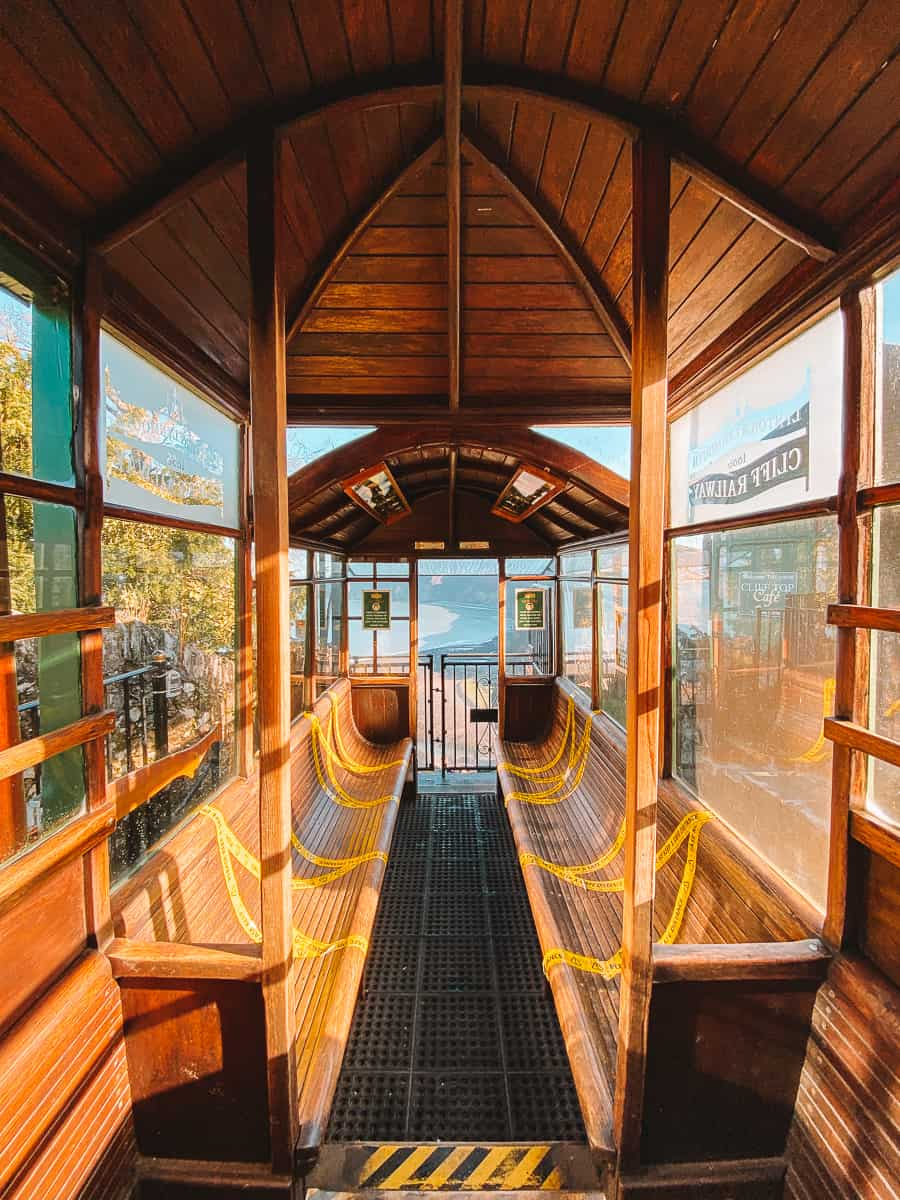 Inside the Lynton and Lynmouth Cliff Railway car