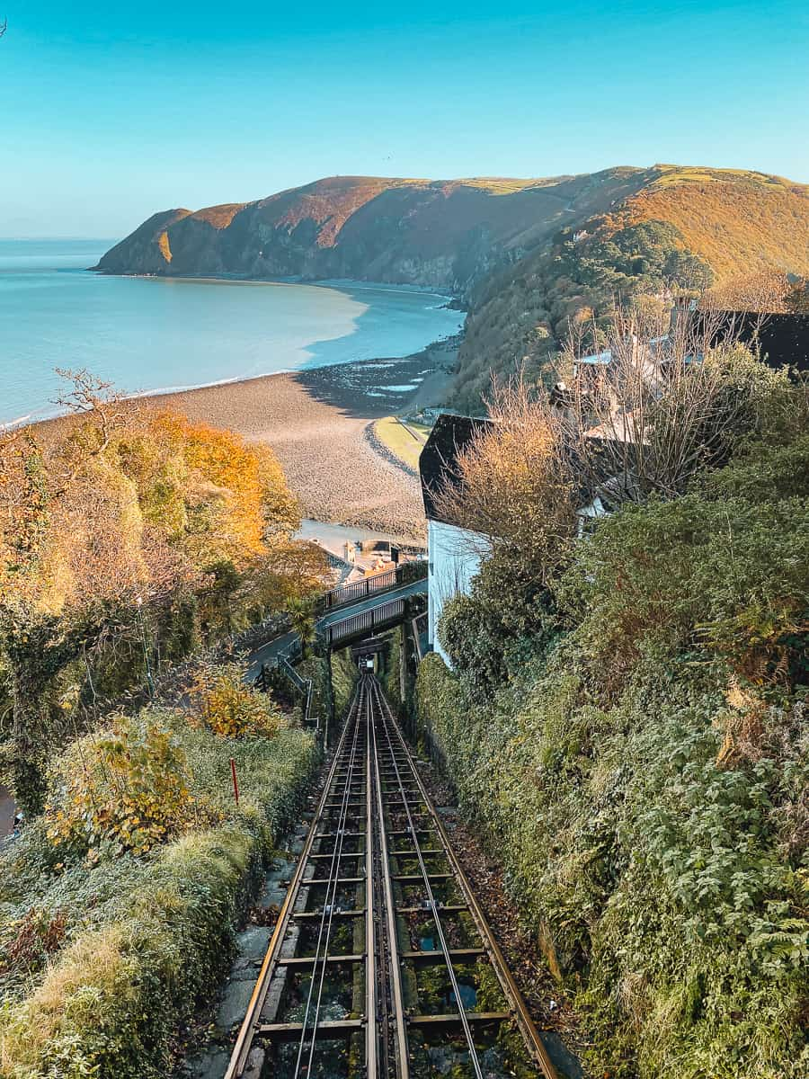 The view from the Lynton and Lynmouth Cliff Railway from the Upper Station in Lynton
