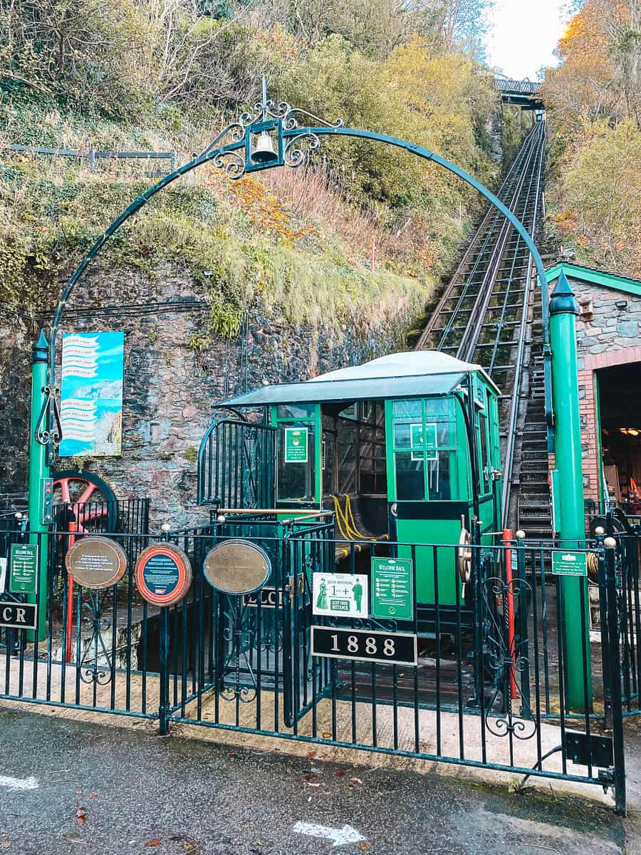 Lynton and Lynmouth Cliff Railway Lower Station on Lynmouth Bay