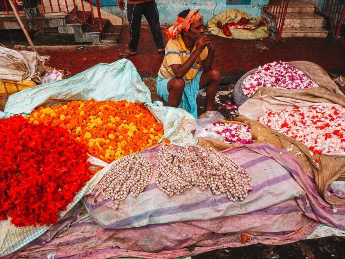 Flower market in Kolkata