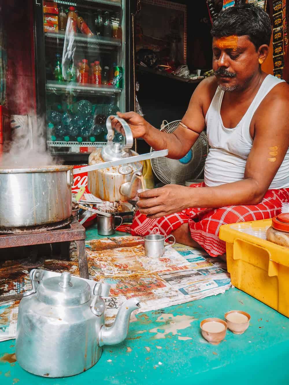 Chai Walla in Kolkata market India