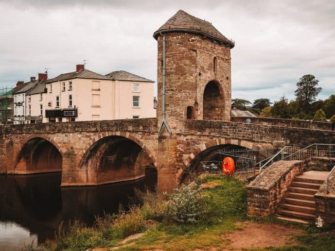 The Monnow Bridge and Gate over the River Monnow in Monmouth