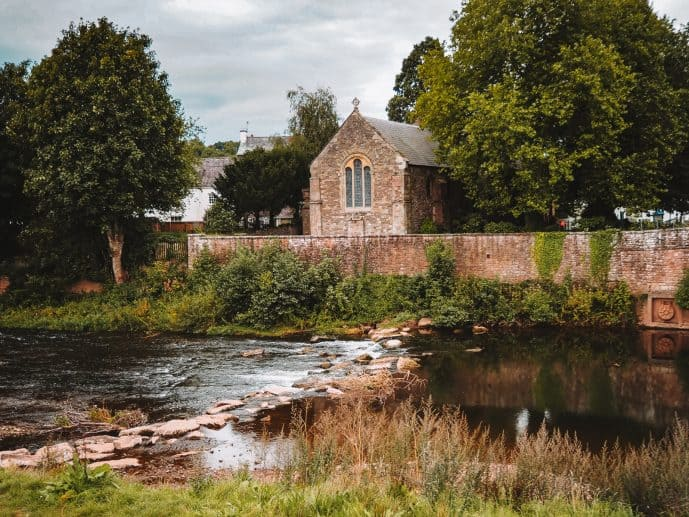 The banks of the River Monnow Wales