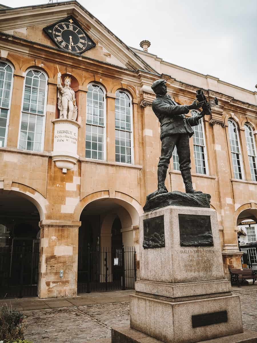 The Charles Rolls statue in front of the Shire Hall in Monmouth