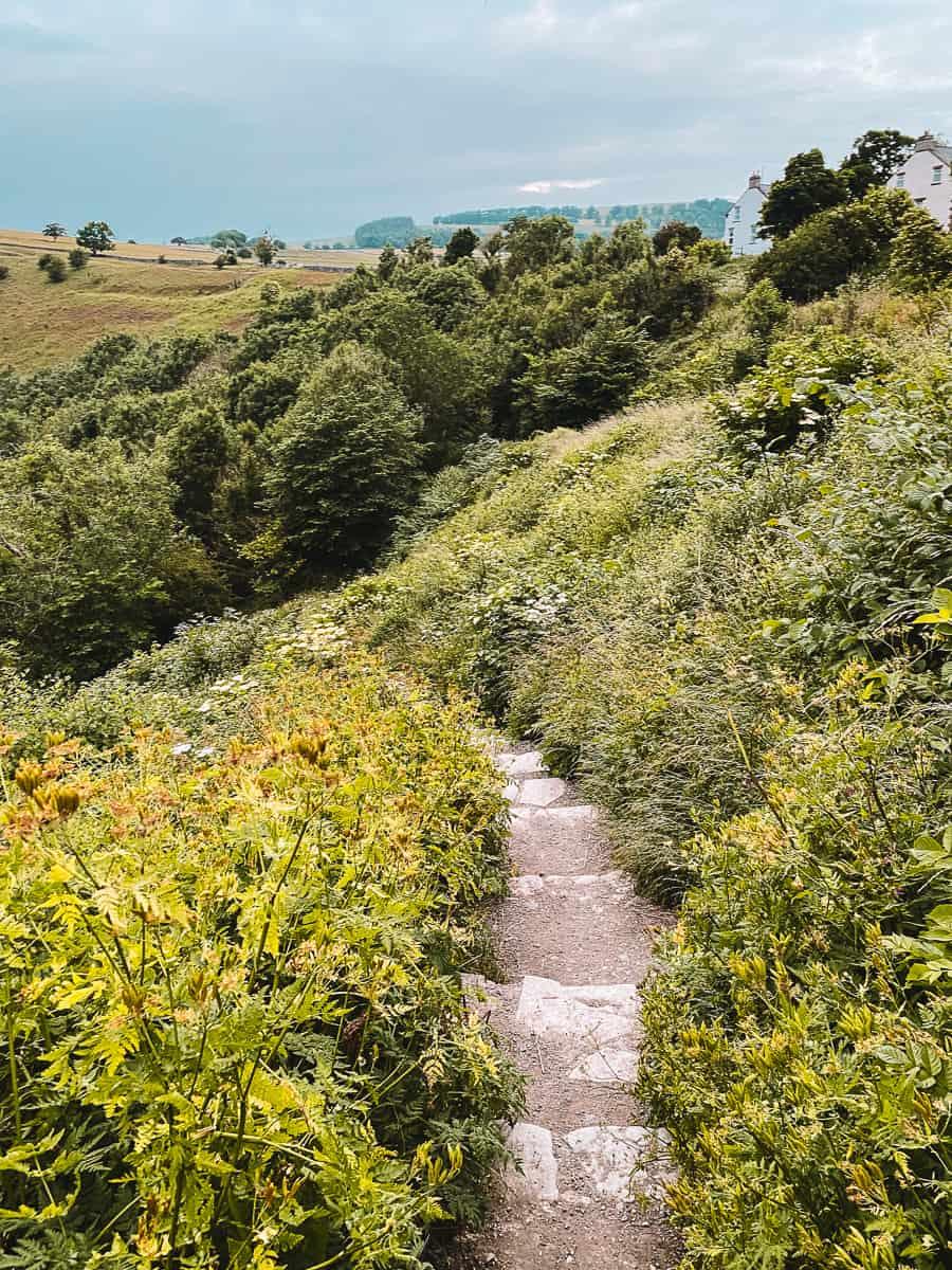 Steps leading down from Monsal Head to Monsal Trail