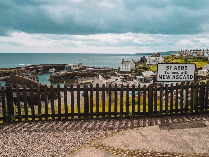 St Abbs twinned with New Asgard sign