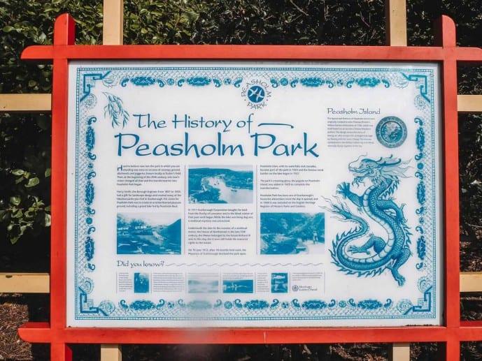 Peasholm Park blue willow tea set legend