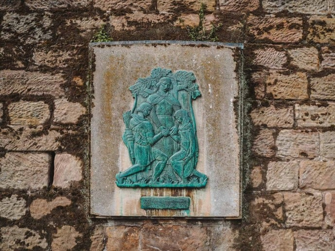 Robin Hood and Maid Marian married plaque outside Nottingham Castle