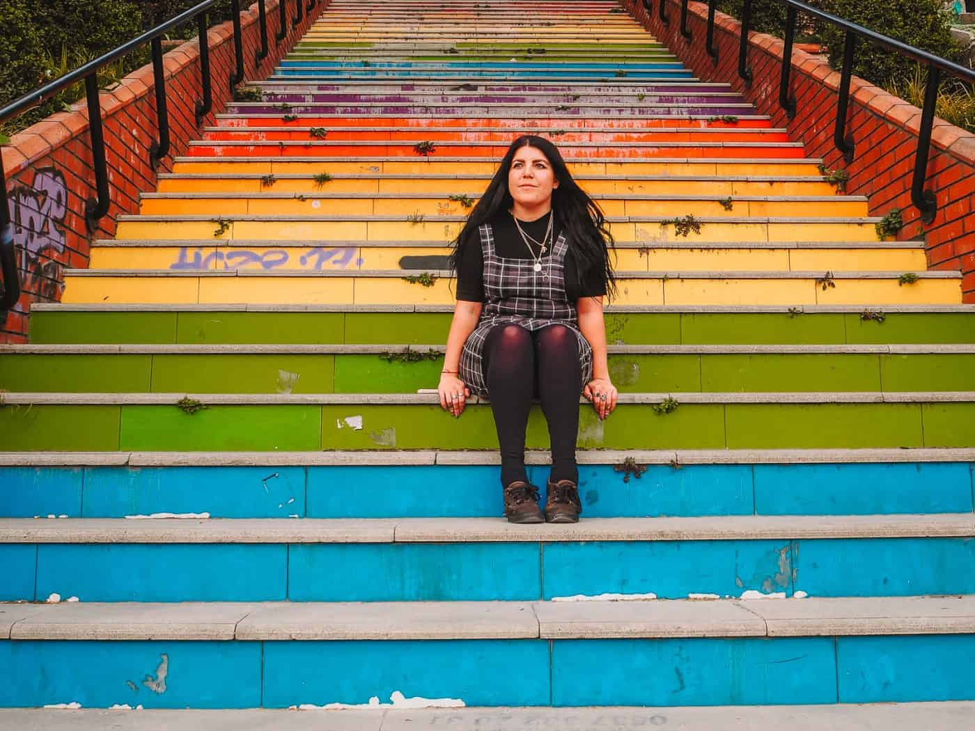 Rainbow stairs in Istanbul
