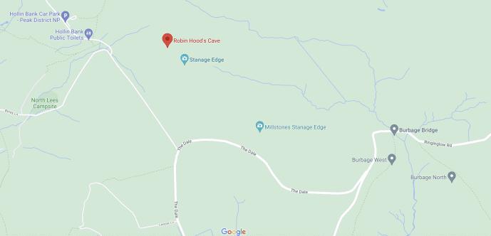 Robin Hood Cave Location Map