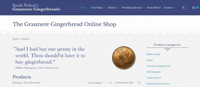 Grasmere Gingerbread online shop